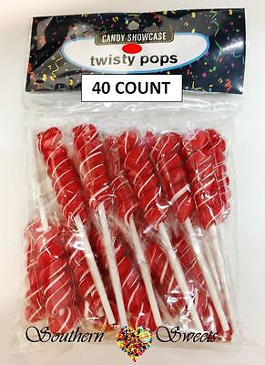 Red & White Twisty Lollipops Wrapped 40Ct Gluten Free Dairy Free  Red Lollies