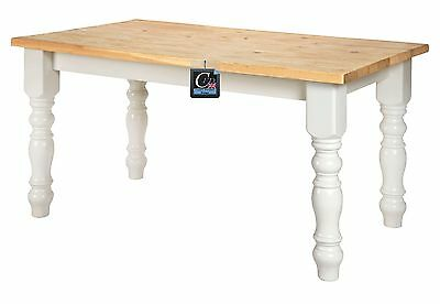 5Ft X 3Ft Painted Pine Farmhouse Table | With Solid Oak Top | Seats 6 People