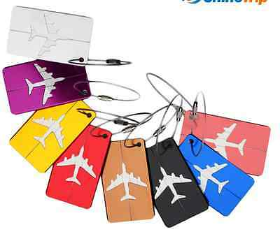 1x Aluminium Metal Travel Luggage Baggage Suitcase Address Name Tag + Cable Rope