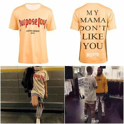 2016 Purpose Tour Justin Bieber Star Style T-shirt Casual Basic Top Cothing Tee