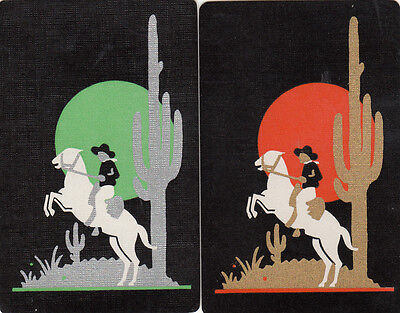 2 (pair) single vintage playing swap cards - Horses - Deco Cowboy