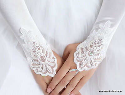 Beaded Bridal Lace Gloves 2 Designs Ivory or White Stretch Fingerless