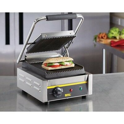 Buffalo CD474 Commercial Electric Single Panini Contact Grill 1.5Kw Cafe Coffee