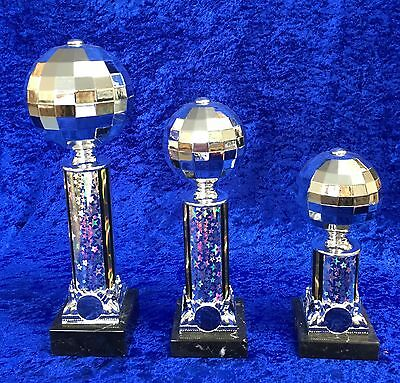 Large Glitter Ball Award Disco Ball Dance Strictly Trophy - FREE Engraving