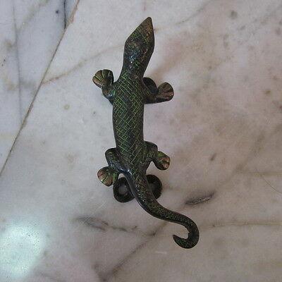 Antique Door wardrobe Handles Brass Cupboard Puller Vintage gecko lizard Reptile