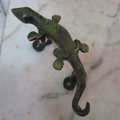 Antique Door wardrobe Handles Brass Cupboard Puller Vintage gecko salamander