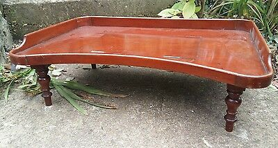 Antique mahogany tray with lift up section and little legs