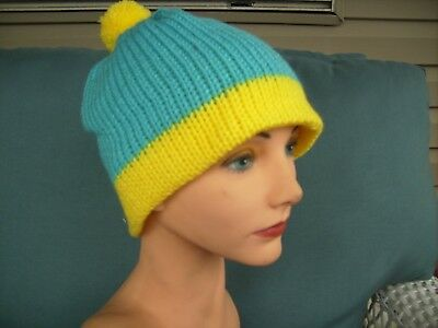 Handmade Knit hat South Park cosplay Cartman turquoise and yellow