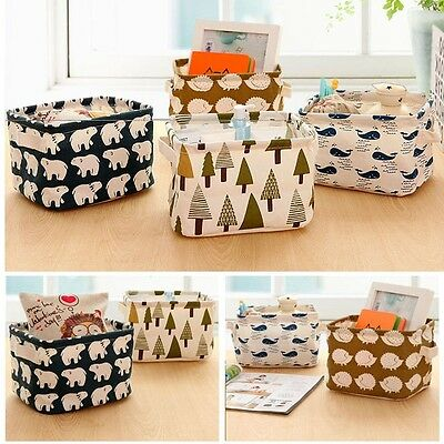 Cute Linen Desk Storage Box Holder Jewelry Cosmetic Stationery Organizer Case