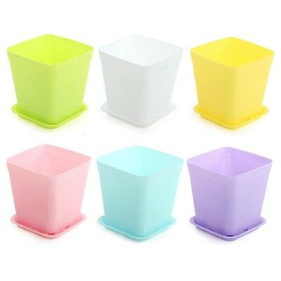 6pcs/pack Flower Pot Square Plastic Planter Nursery Garden Desk Home Decor Candy