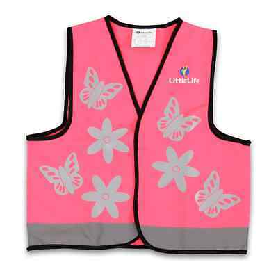 LittleLife Reflective Pink Butterflies Safety Vest - 4+ Years