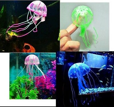 Glowing Artificial Vivid Jellyfish Silicone Fish Tank Decor Aquarium Decoration