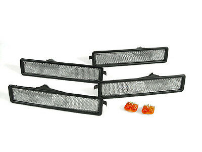 4 Pieces Clear F + R Bumper Side Marker Lights For 88-96 BMW E32 E34 5 7 Series