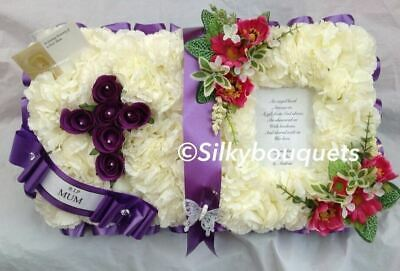 Bible Artificial Silk Funeral Flower Open Book Bible Tribute Personalised