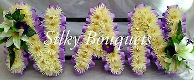 Artificial Silk Funeral Flower Nan Wreath Any 3 Letter Tribute Chrysanthemum