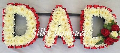 Dad Artificial Silk Funeral Flower Any 3 Letter Tribute Wreath Chrysanthemum