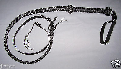 4 foot  12 plait  CUSTOM BLACK LEATHER QUIRT  ( WHIP  / CROP  /  FANTASY WHIP )