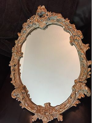 Antique French ROCOCO LOUIS  Gold Gilt Mirror Shabby Chic Oval Wall Mirror