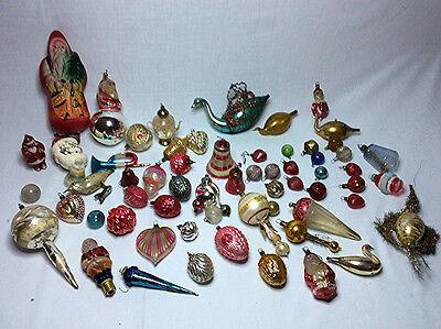 Antique Christmas tree ornaments Victorian to Vintage Santa Claus Feather German