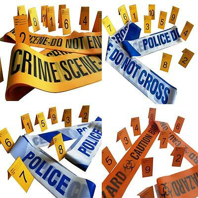 Crime Scene,Caution Biohazard,Police Barrier Tapes and Evidence Markers (1-10)
