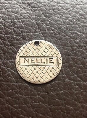 USA Solid Silver Dime Coin Holed Engraved NELLIE Love Token Charm L8