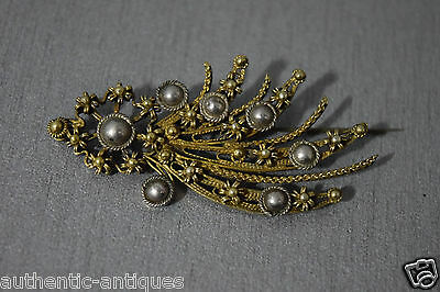 Gorgeous ANTIQUE SILVER FILIGREE+GILDED Pin Brooch For OTTOMAN HAT ORNAMENT RARE