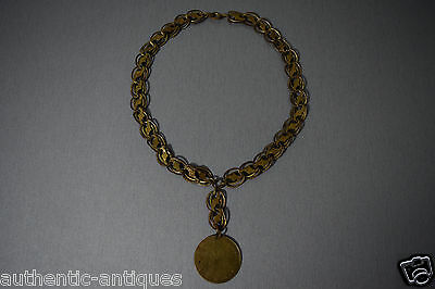 Gorgeous Antique Folklore Gilded Gold-plated HUGE COIN YEAR 1905 with Necklace