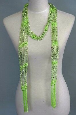 Beaded Knit Necklace Scarf  , summer Belt , bead scarf, Green color