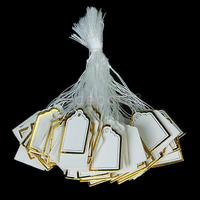 500pcs Gold Border Label Tie String Strung Jewelry Display Price Tags