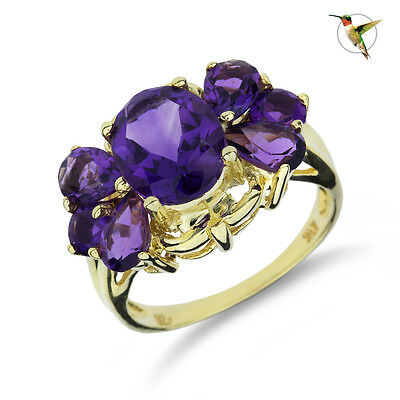 NEW 4.20ct Amethyst Fashion Ring in 10k Solid Yellow Gold #2535