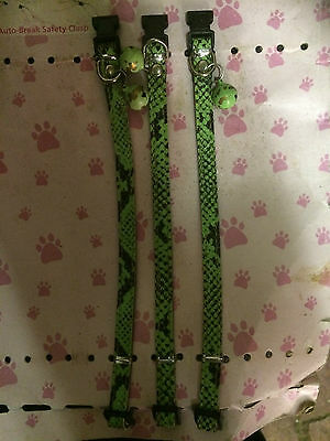New Green Faux Snake Skin Safety Clasp Cat Kitten Pet Collar With Bell