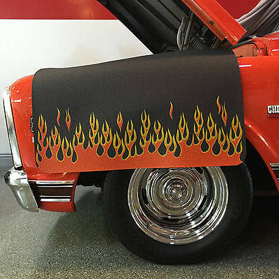 Flamed Hot Rod Style Fender Gripper Protective Black Cushion Fender Cover FG2305