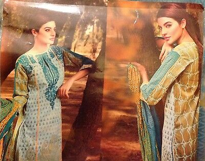 ORIGINAL KHAADI 3PC SUIT  Embroidered COTTON TAILOR STITCHED Asim Jofa,charizma