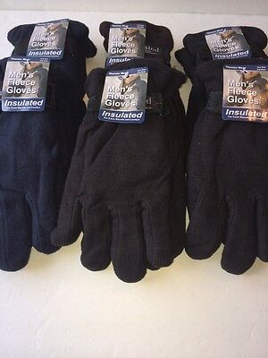 Mens Polar Fleece Gloves Winter 6 Pairs Warm Insulated One Size