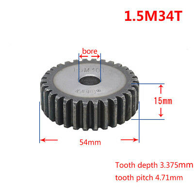 1.5Mod 34T 45# Steel Spur Gear Outer Diameter 55mm Thickness 15mm Qty 1