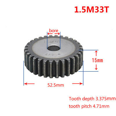 1.5Mod 33T 45# Steel Spur Pinion Gear Outer Diameter 53mm Thickness 15mm Qty 1