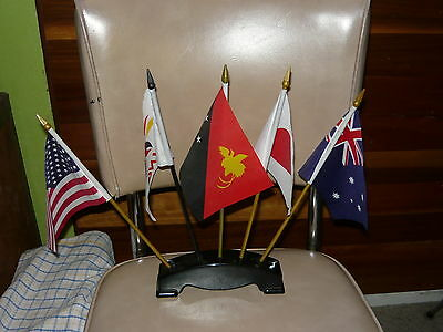 5x Sales Rep / Board Room Desk Flags & Stand ~ PNG Japan Australia USA Diplomat