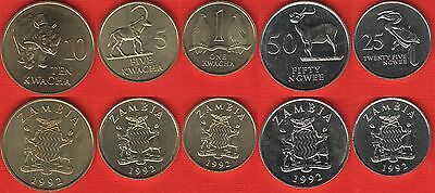Zambia set of 5 coins: 25 ngwee - 10 kwacha 1992 UNC