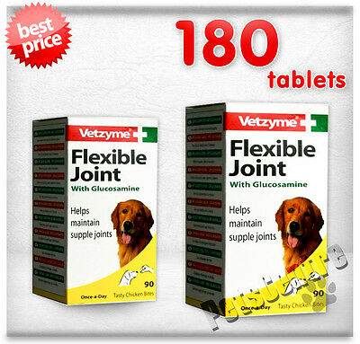 Dog Supplement Vetzyme Flexible Joint with Glucosamine Tablets 180