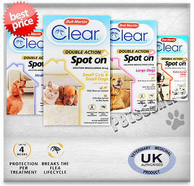 Bob Martin Clear Double Action Spot On Cats & Dogs Flea Treatment,Solution 12wk