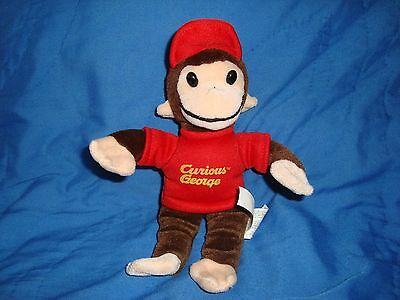 Curious George Monkey wearing red ballcap / hat Plush & Beans 9""