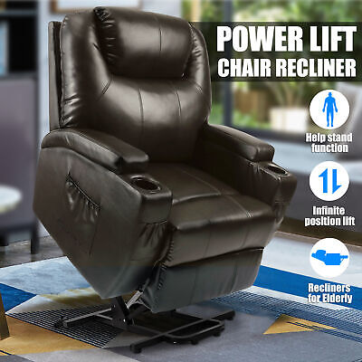 Power Lift Chair Recliner Armchair Sofa Real Leather Elderly Chair Seat Brown