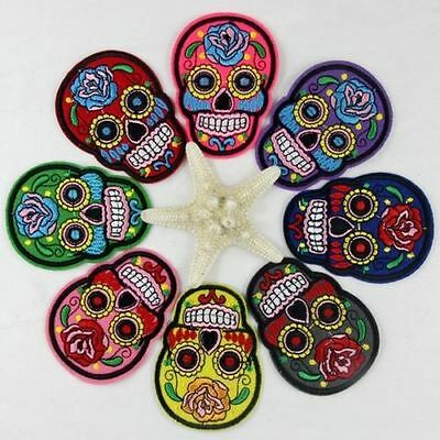 1/8PCS DIY Cloth Iron Sew On Patch Embroidery Badge Skull Clothes Motif Applique