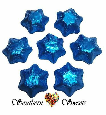 1Kg Blue Foiled Stars Milk Chocolate Candy Buffet Bar  Blue Lollies Theme