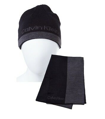 Calvin Klein CK Beanie Hat & Scarf Set New 2016 Black & Charcoal Great Gift