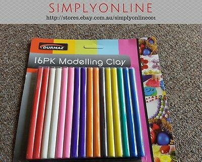 Modelling Clay Set -16 Pack - 250Gram - 13CM Long Stick -9 Colours- Free Postage
