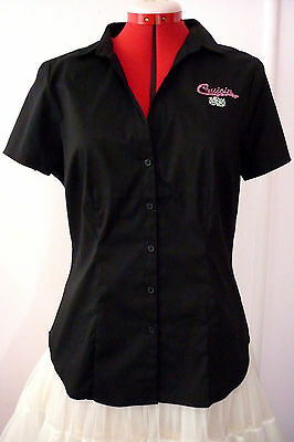Rock N Roll/rockabilly Black Shirt For Poodle Skirt Cotton & Elastane Size 14