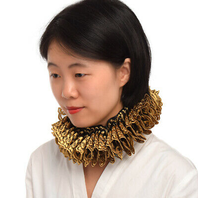 Ruffled Collar Elizabethan Cosplay Vintage Renaissance Neck Ruff Gold Black Gift