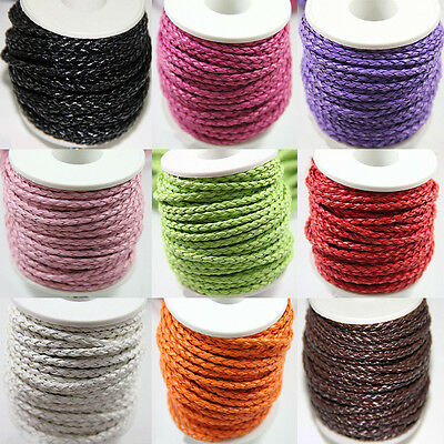 3M Man-made Leather Braid Rope Hemp Cord For Necklace Bracelet 14Colors DIY