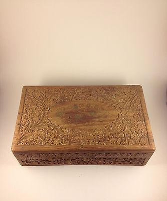 Hand Carved Cigar Box For 50 Cigars (cigar Not Included)
